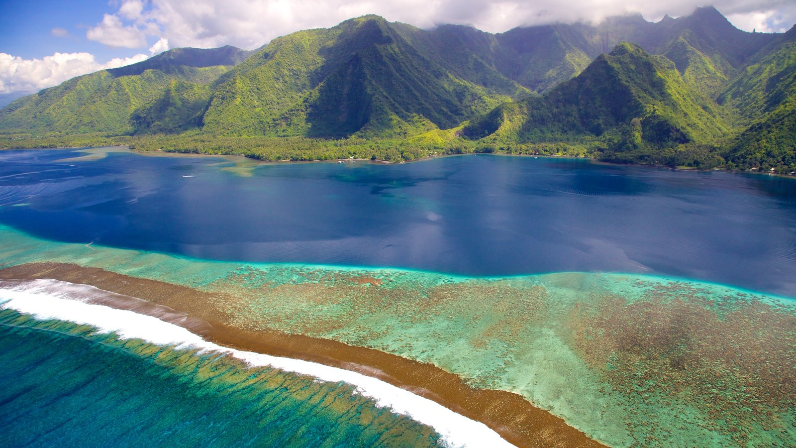 Tahiti featuring mountains, island views and coral