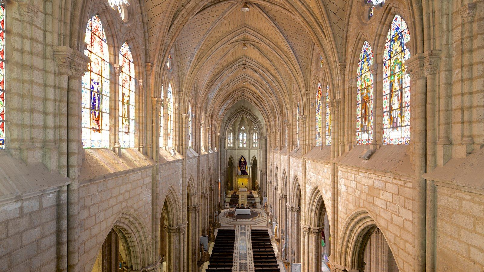Basílica do Voto Nacional mostrando uma igreja ou catedral, arquitetura de patrimônio e vistas internas