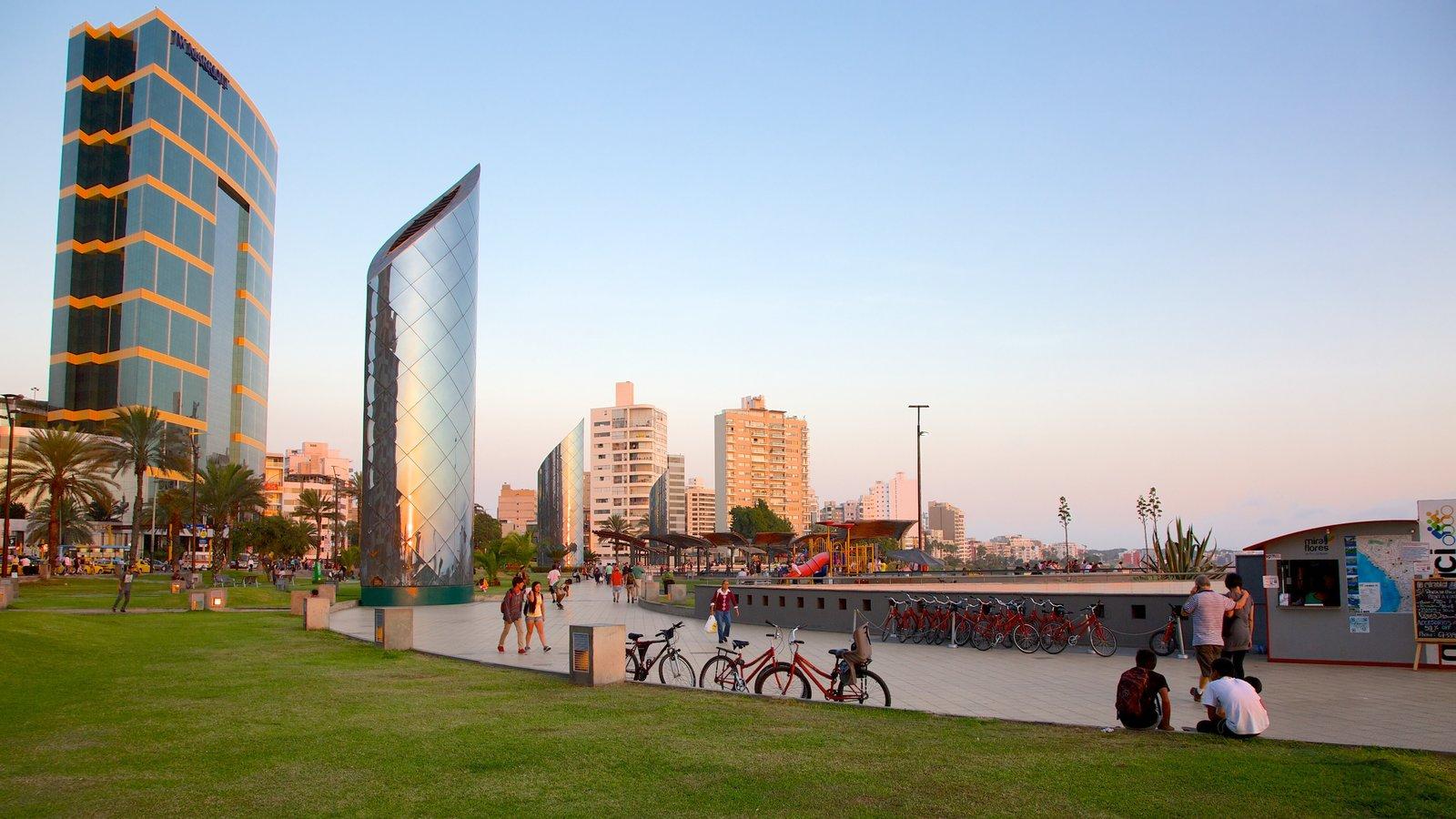 Lima caracterizando um arranha-céu e cenas de rua