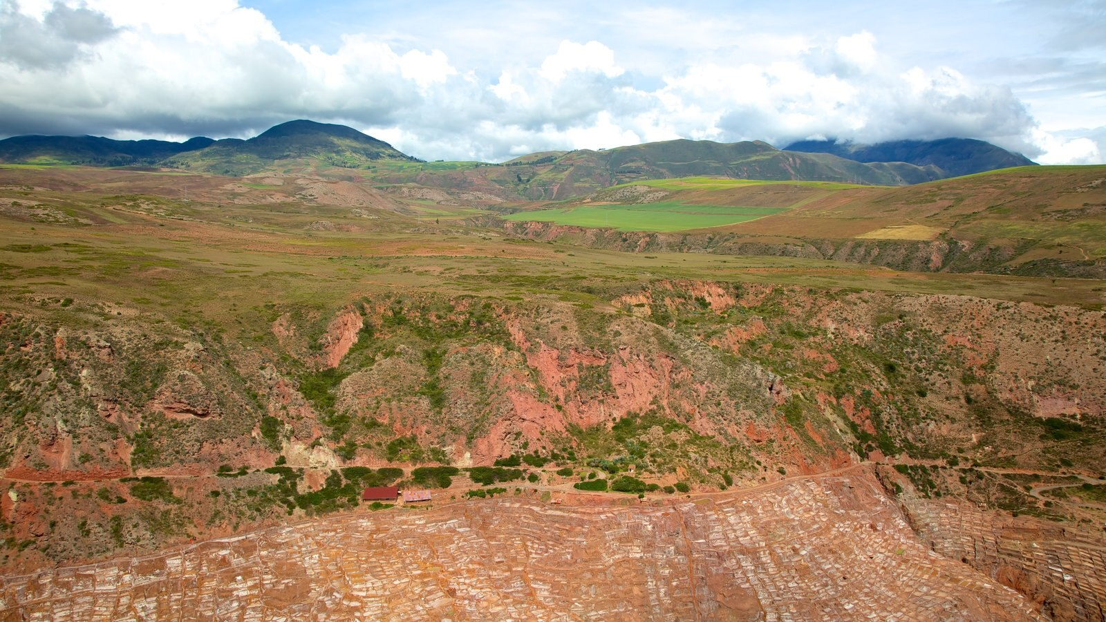 Salt Mines Of Maras featuring landscape views