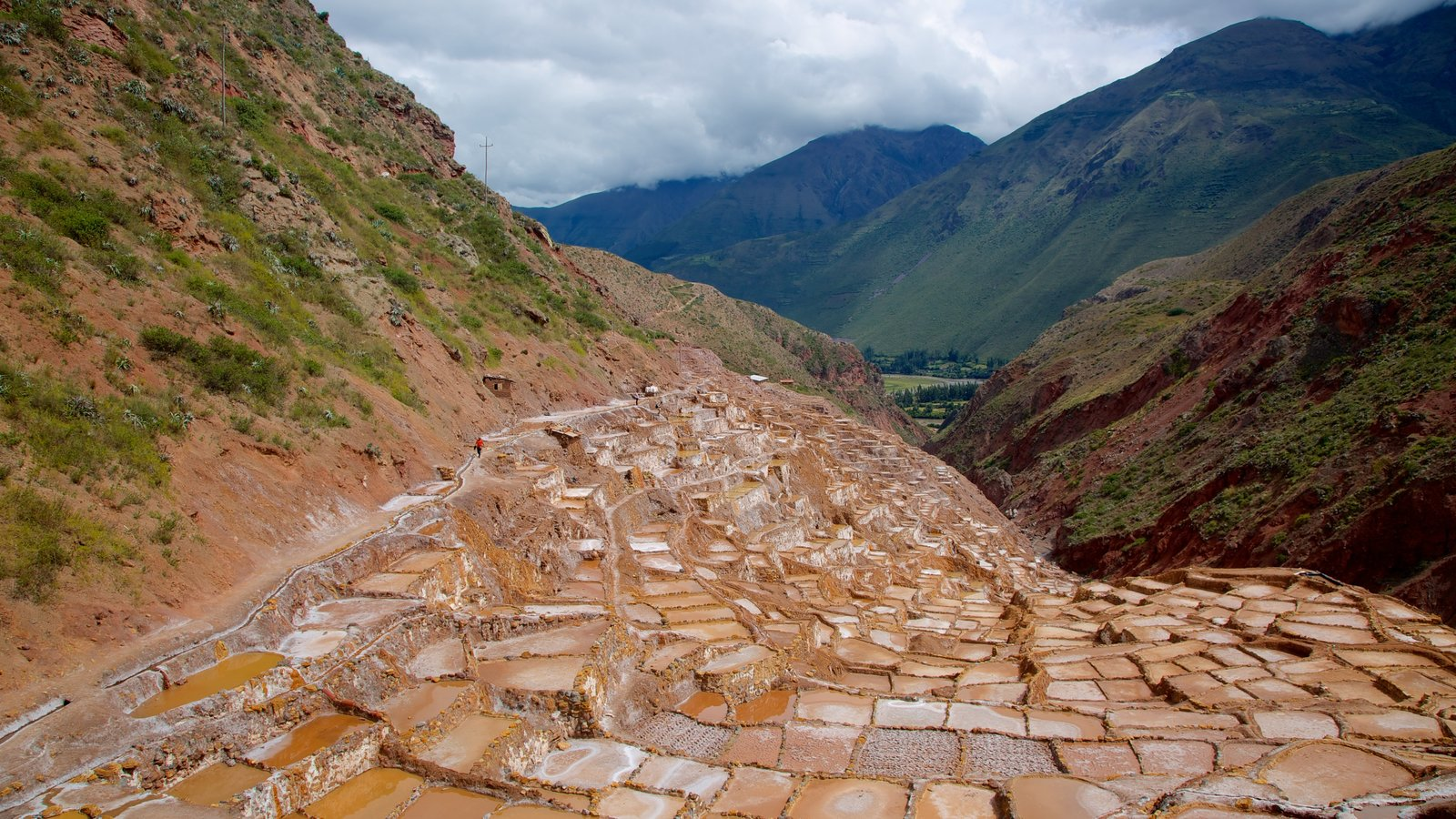 Salt Mines Of Maras showing mountains and landscape views