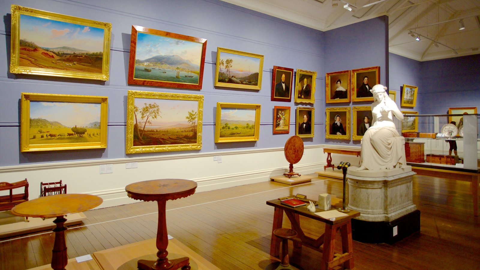 Tasmanian Museum and Art Gallery which includes art and interior views