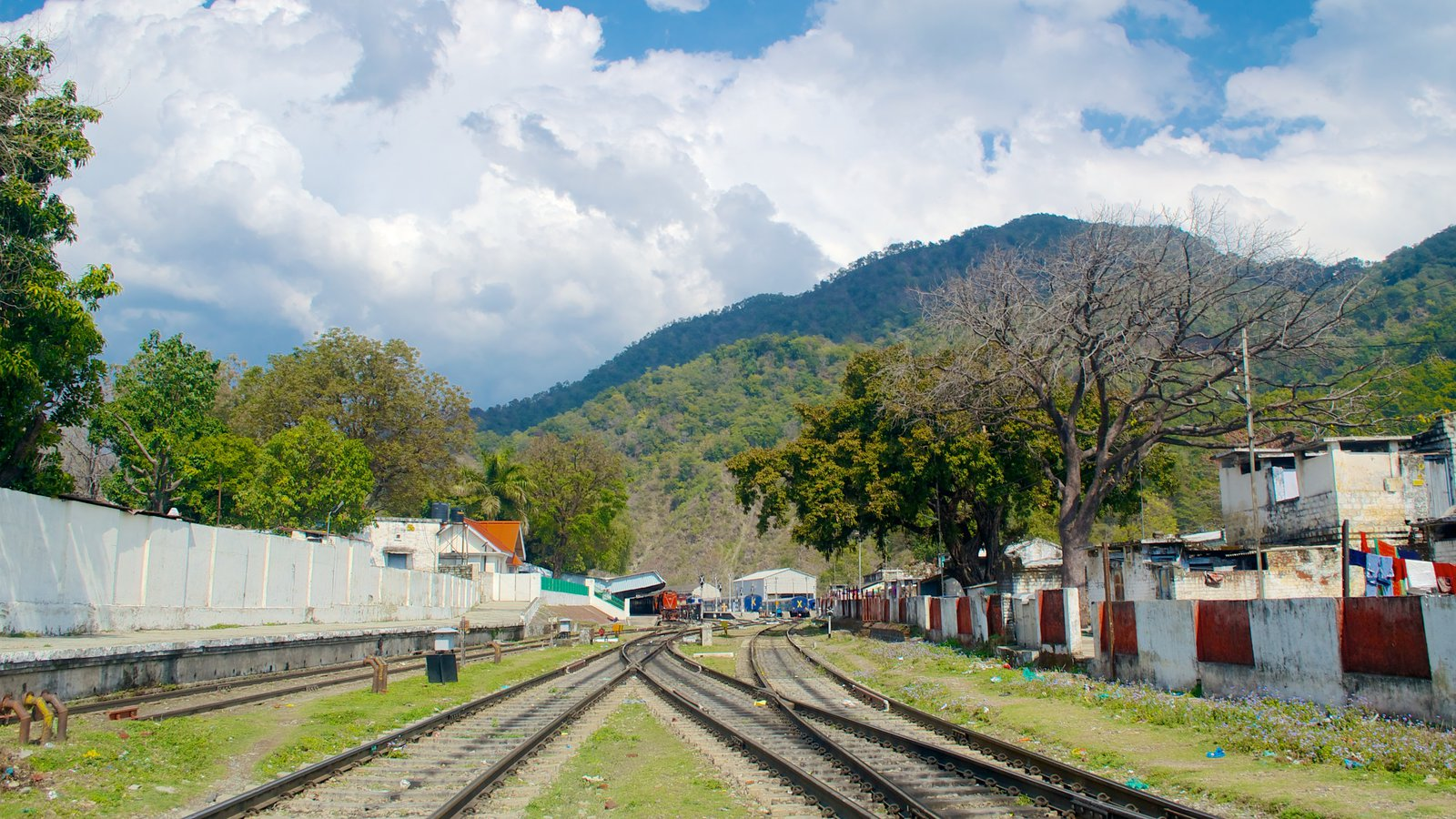 Hd wallpaper uttarakhand - Kathgodam Showing Landscape Views Railway Items And A Small Town Or Village