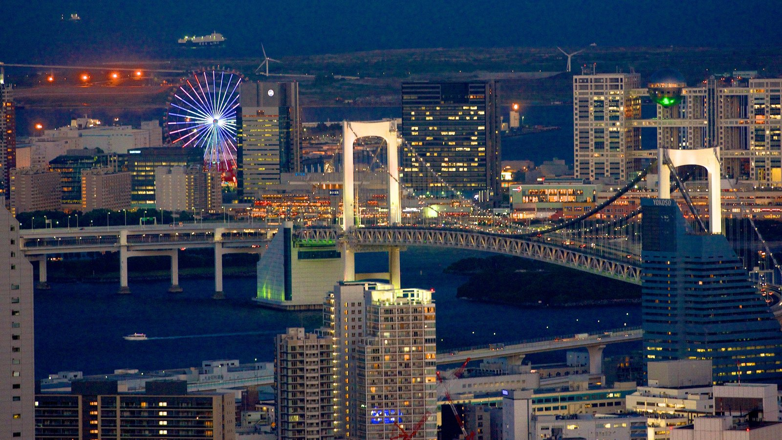 Tokyo which includes a bay or harbor, modern architecture and a bridge