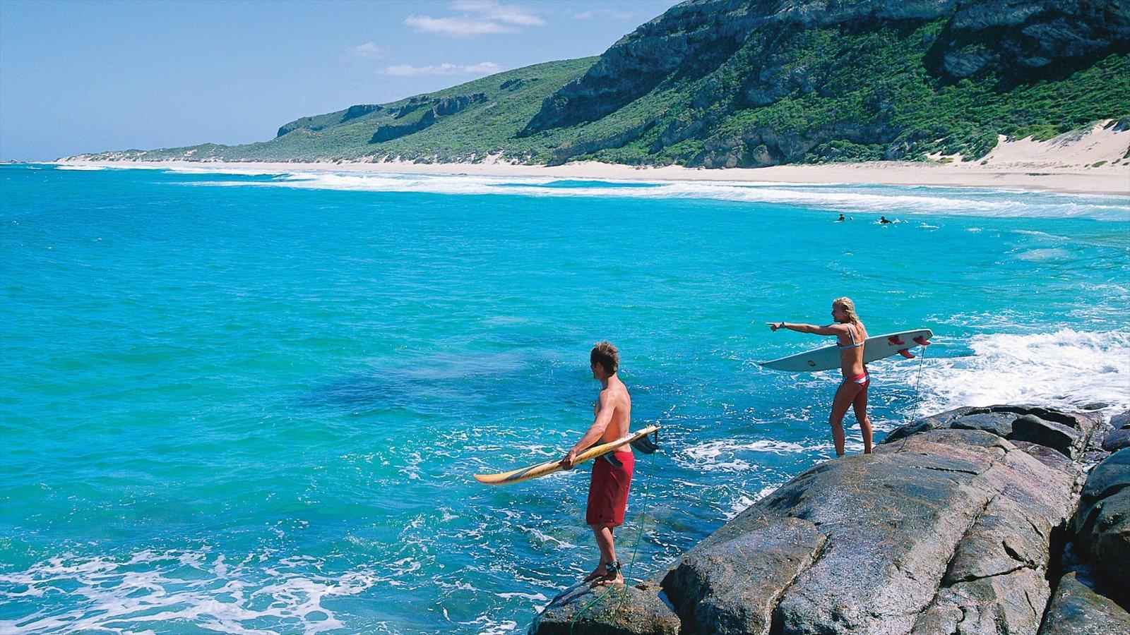 Margaret River Wine Region featuring rocky coastline, surfing and landscape views