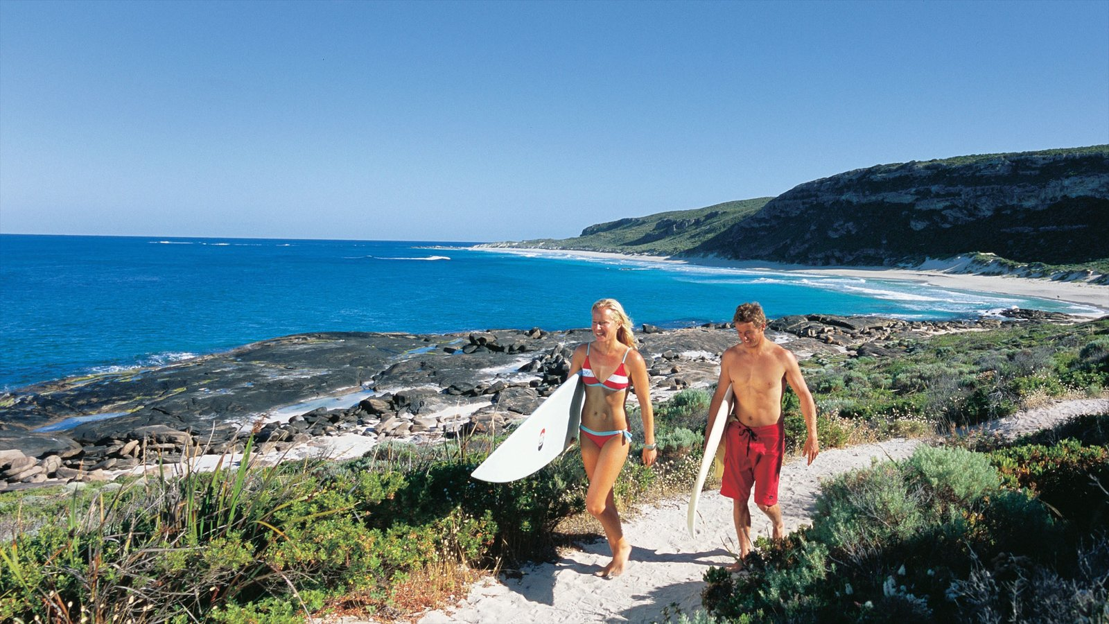 Margaret River Wine Region which includes surfing, rocky coastline and landscape views