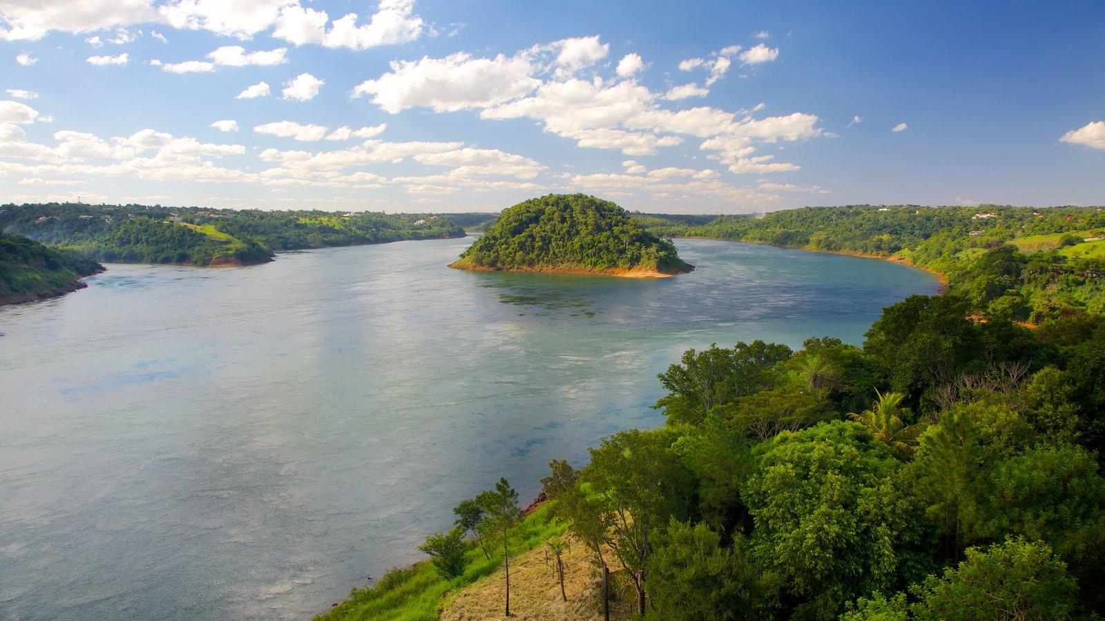 Ponte da Amizade que inclui um rio ou córrego, florestas e paisagem