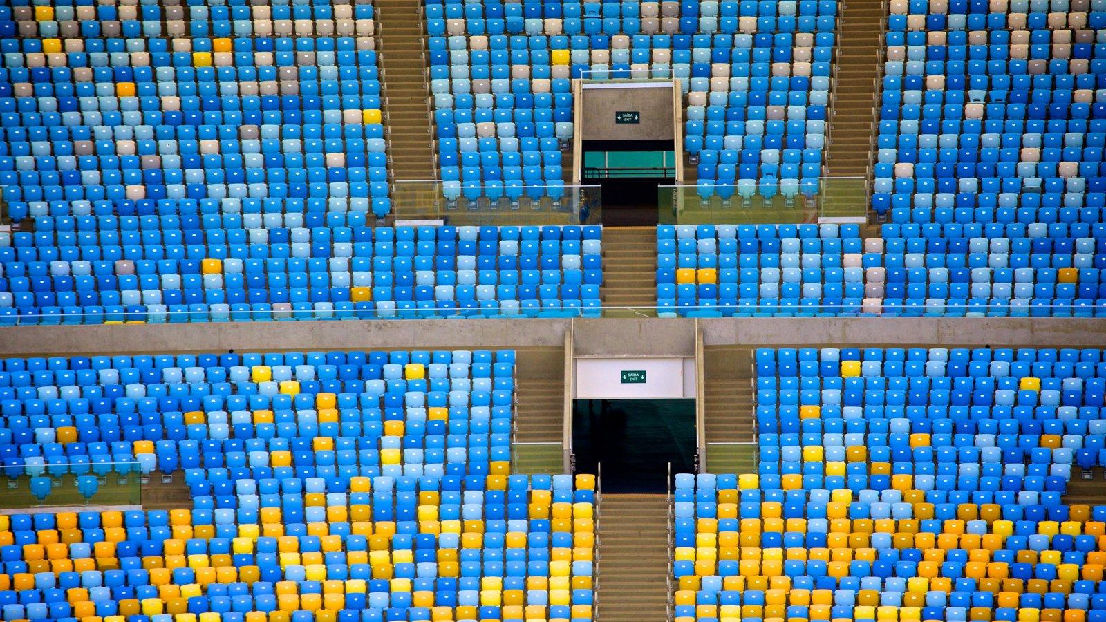 Estádio Mário Filho mostrando vistas internas