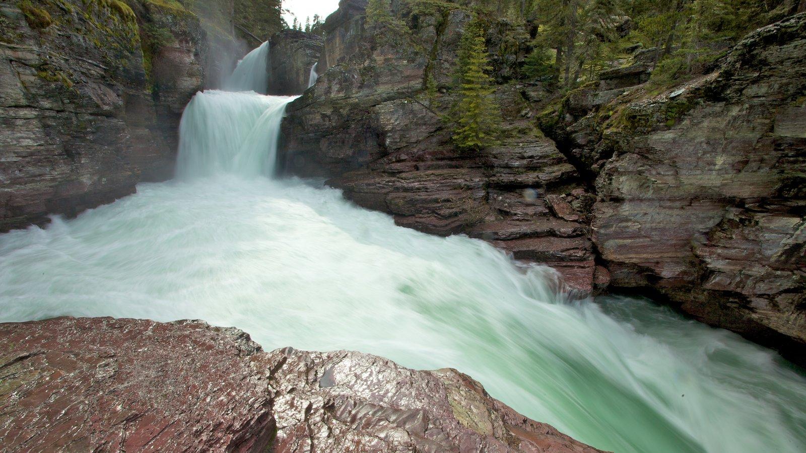 Parque Nacional de los Glaciares mostrando un río o arroyo y una catarata