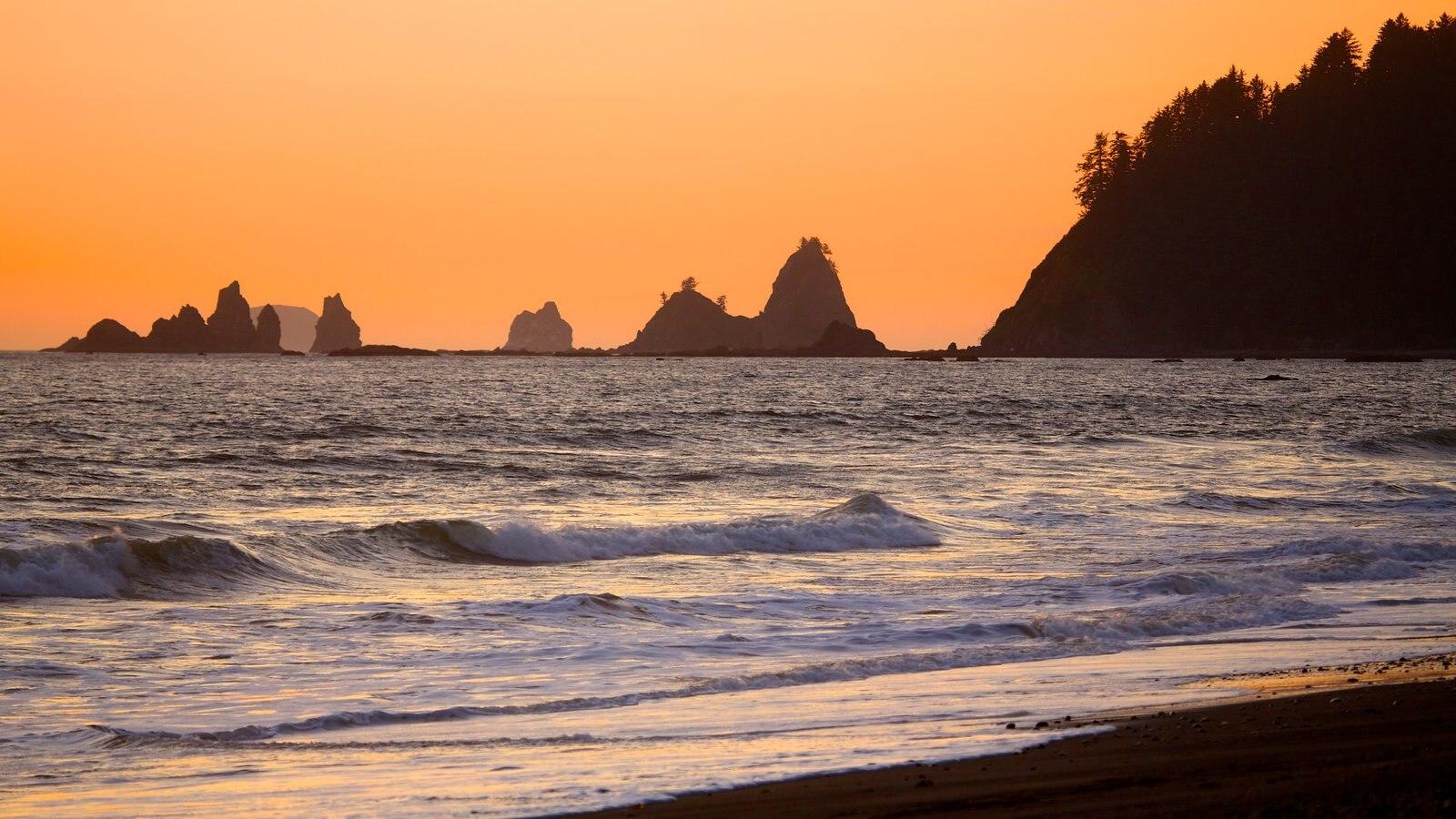 Washington mostrando vistas generales de la costa y una puesta de sol