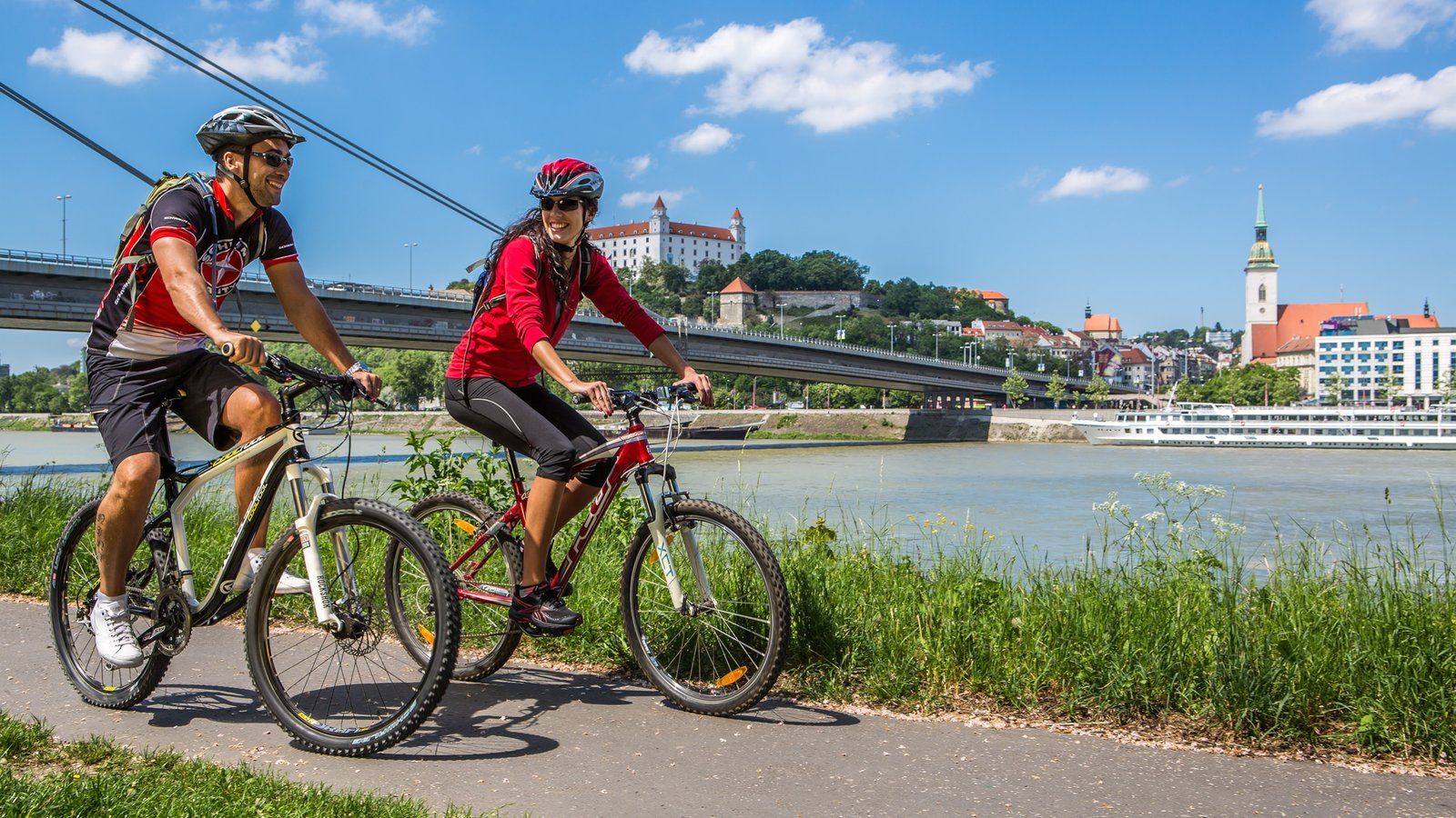 Bratislava showing cycling as well as a couple