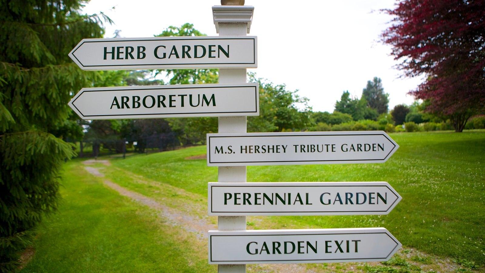 Hershey Gardens que inclui sinalização