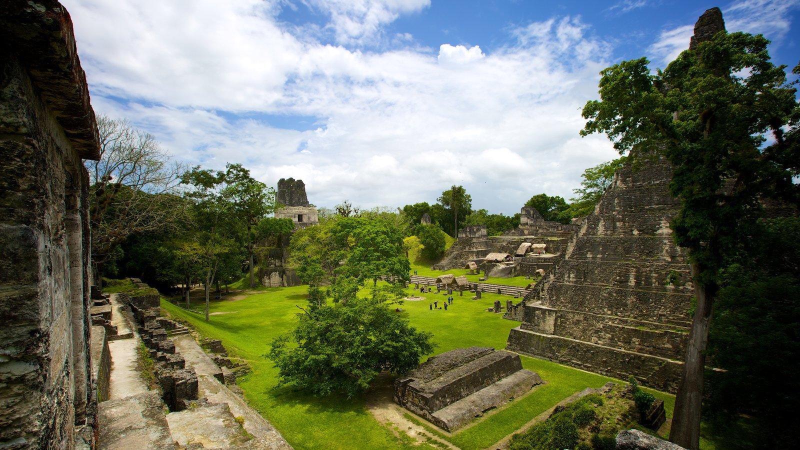 Tikal que inclui elementos de patrimônio, uma ruína e paisagem