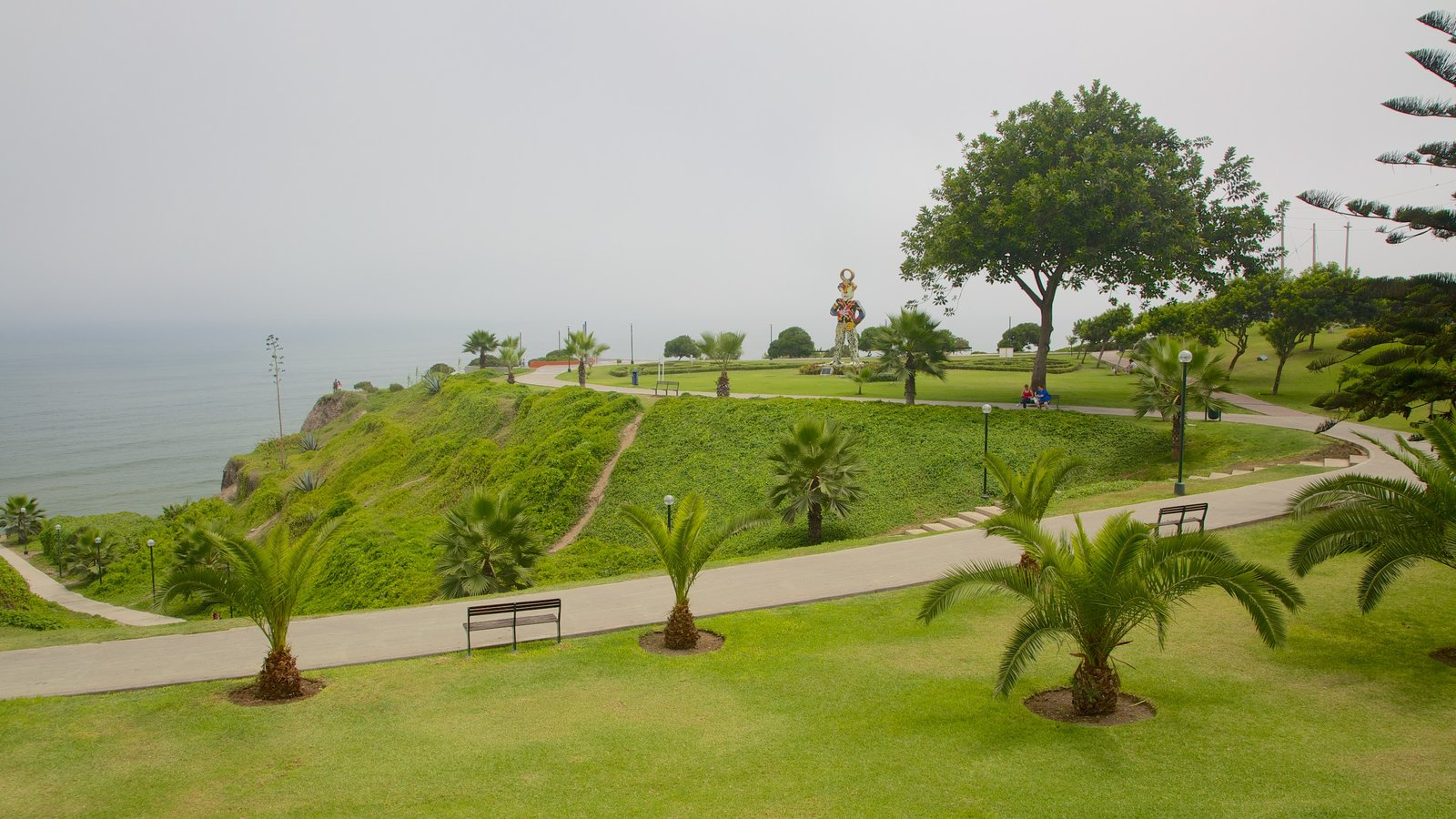 Lima showing mist or fog, a garden and general coastal views