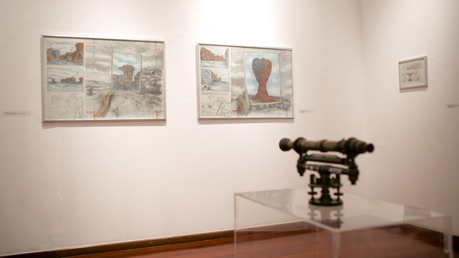 Museu de Arte Contemporânea mostrando vistas internas e arte
