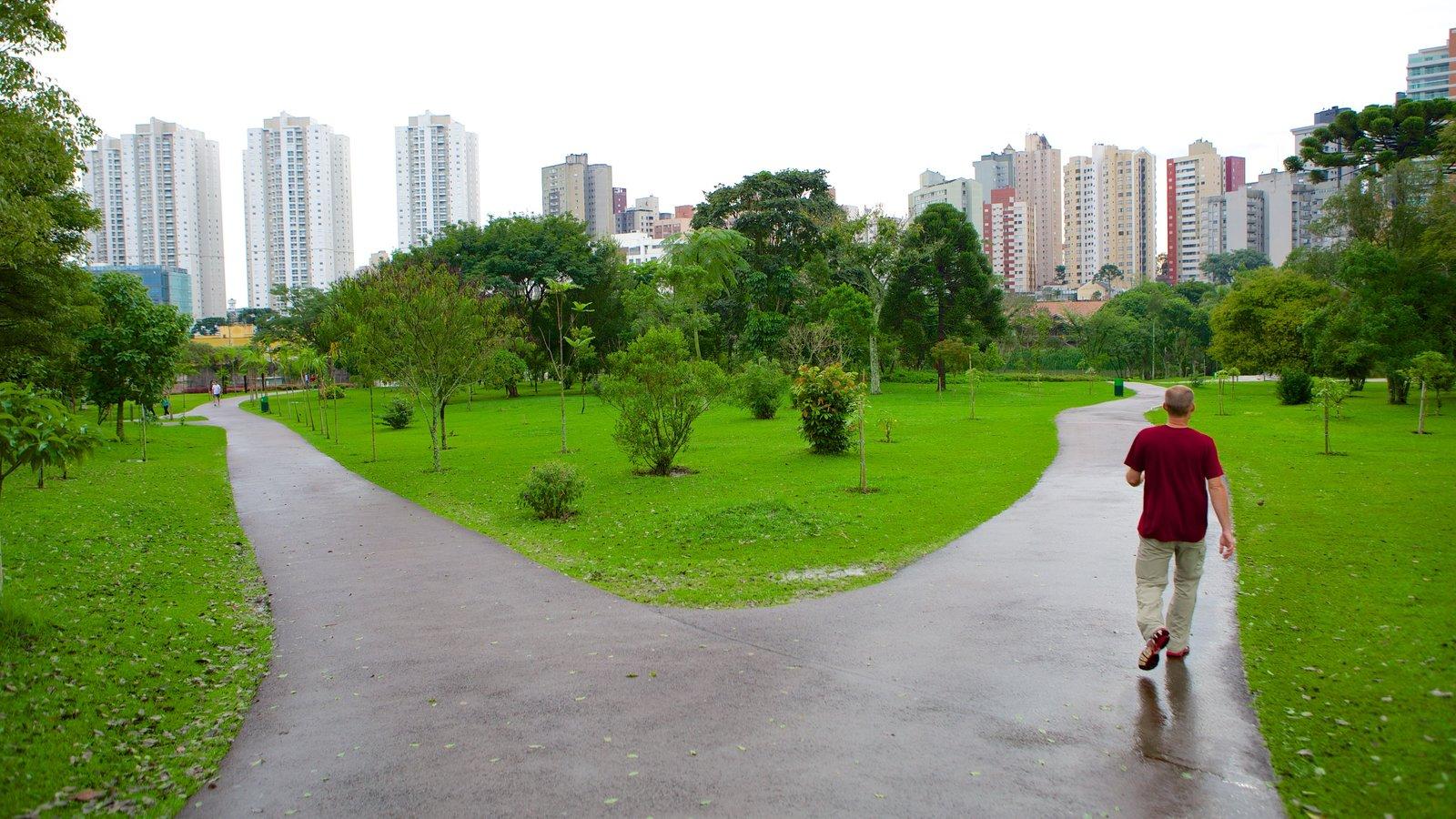 Parque Botânico de Curitiba caracterizando um parque e escalada ou caminhada assim como um homem sozinho