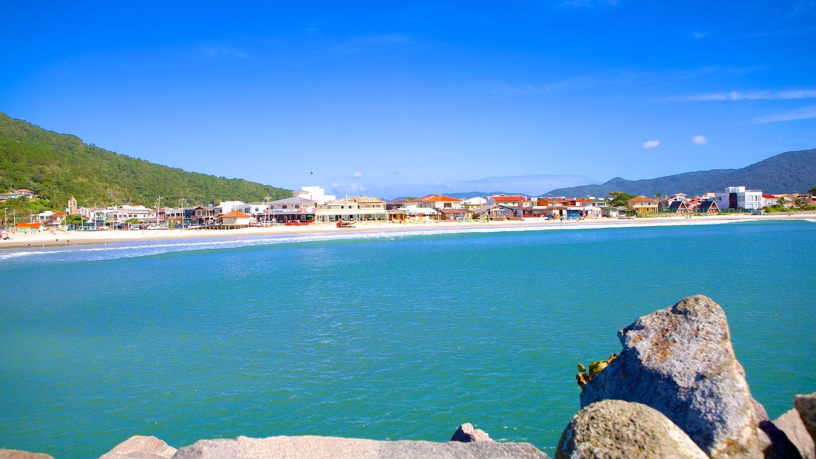 Praia da Barra da Lagoa mostrando paisagens litorâneas e uma cidade litorânea