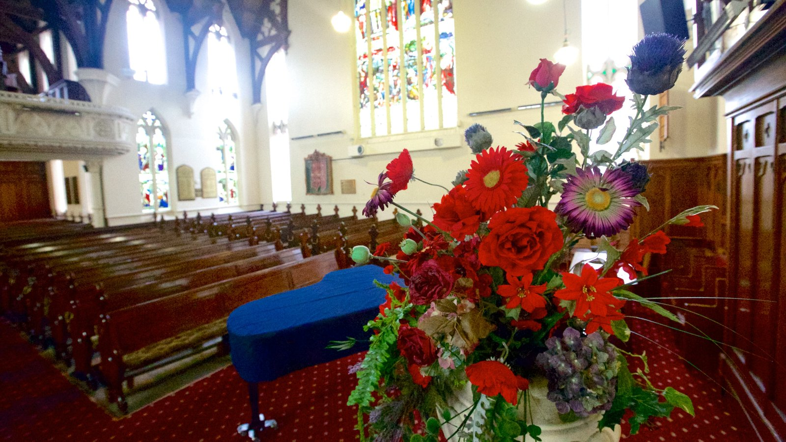 First Church of Otago featuring religious elements, interior views and a church or cathedral
