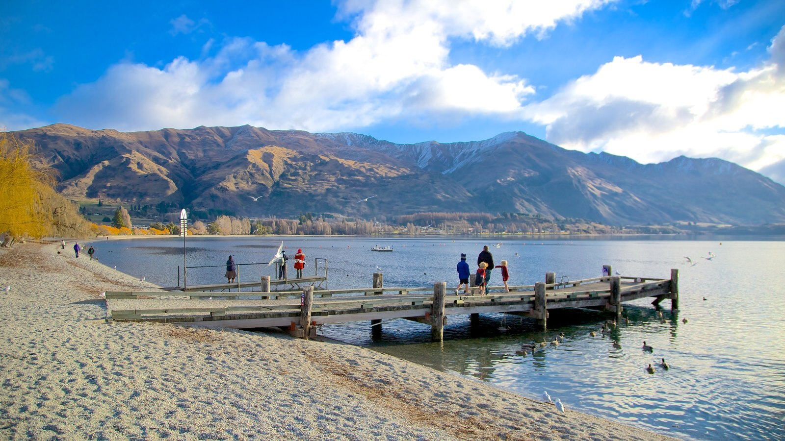Lake Wanaka which includes a lake or waterhole, a beach and landscape views