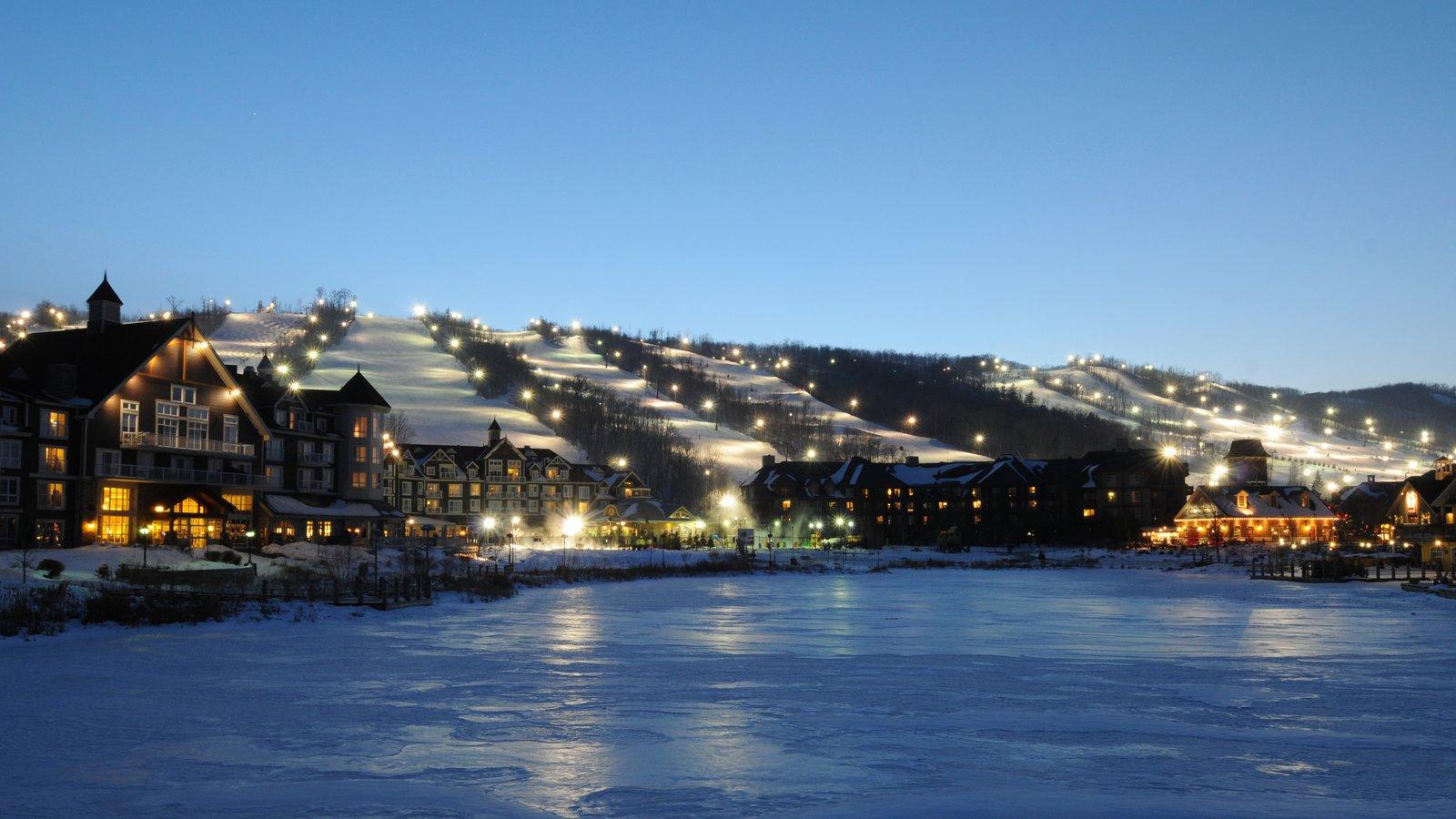 Blue Mountain Ski Resort caracterizando uma cidade pequena ou vila, cenas noturnas e neve
