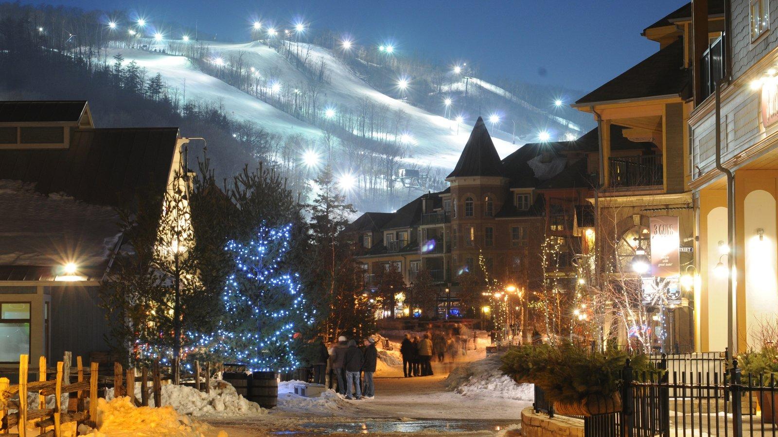 Blue Mountain Ski Resort mostrando cenas noturnas, cenas de rua e uma cidade pequena ou vila