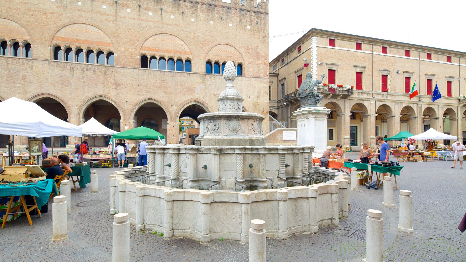 Piazza Cavour showing street scenes and a fountain