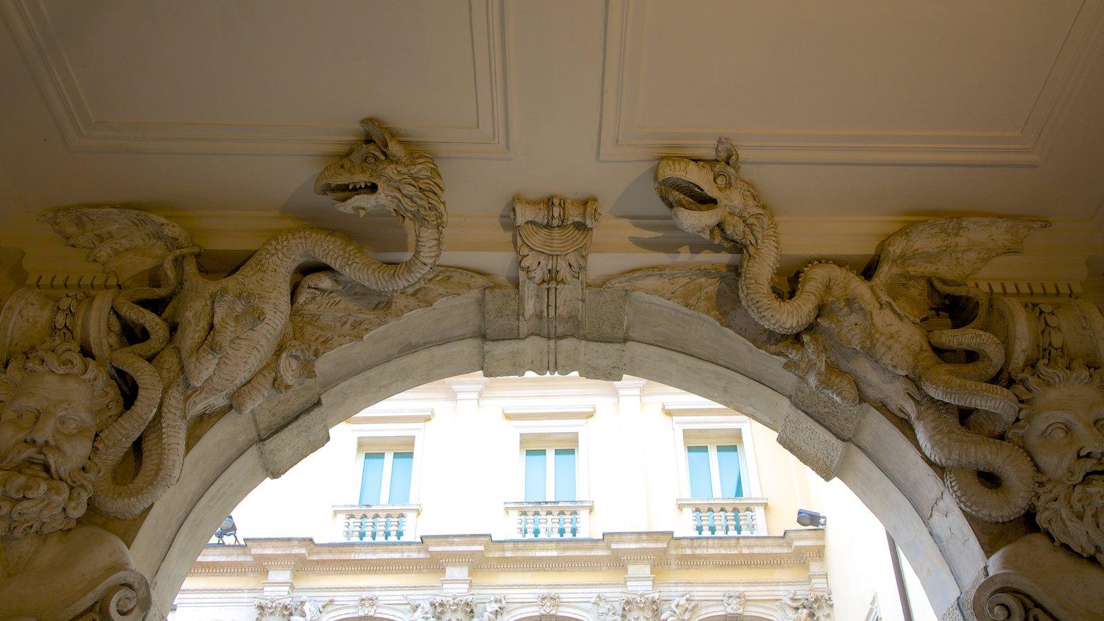 Gallerie di Palazzo Leoni Montanari which includes a statue or sculpture, heritage architecture and interior views