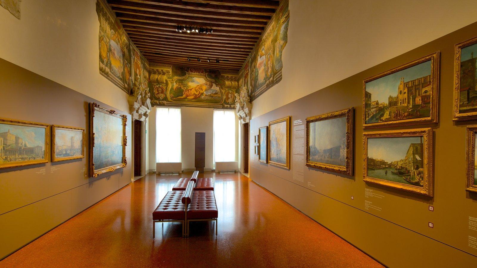 Gallerie di Palazzo Leoni Montanari showing interior views and art