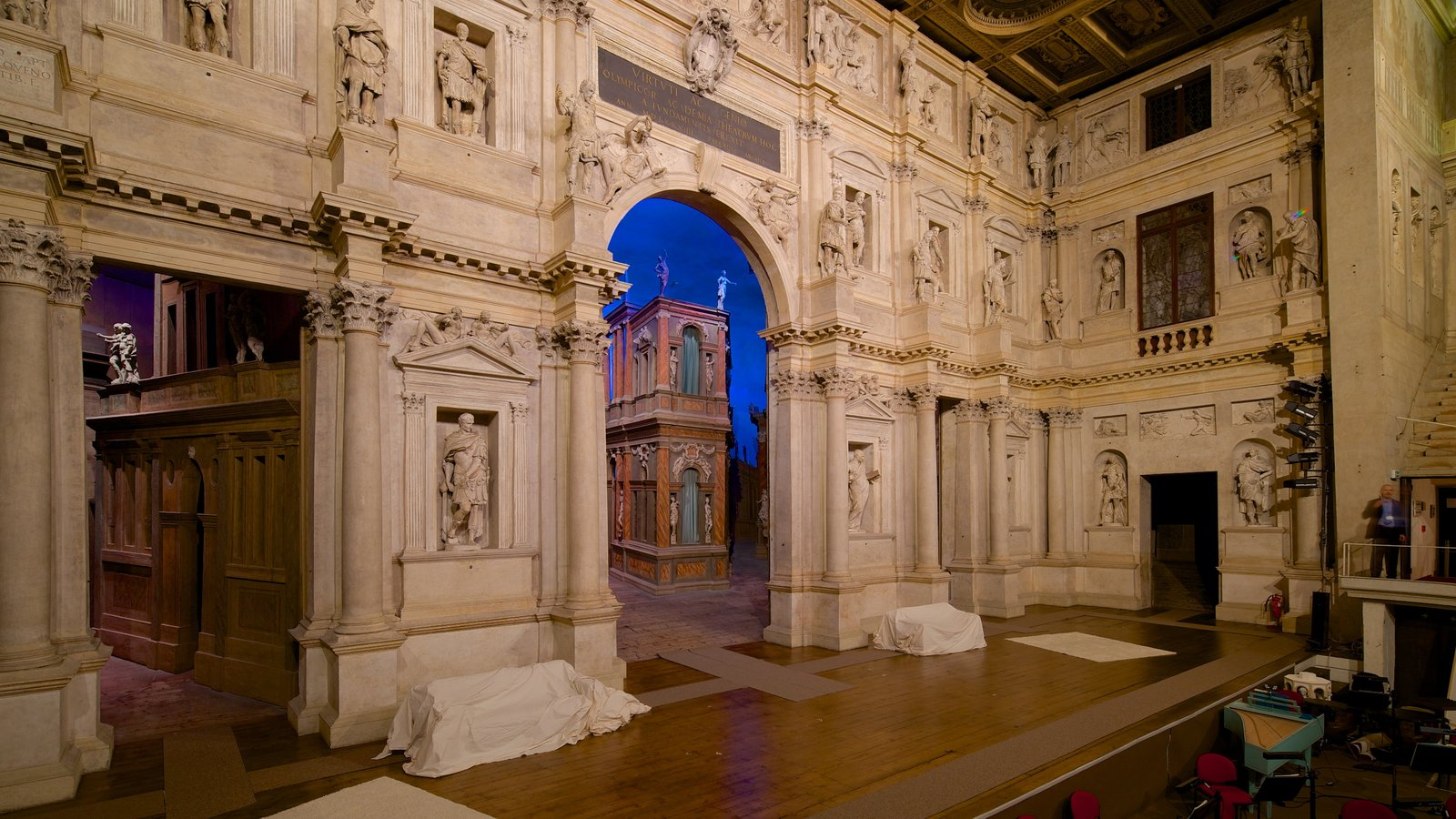 Vicenza showing theater scenes and interior views