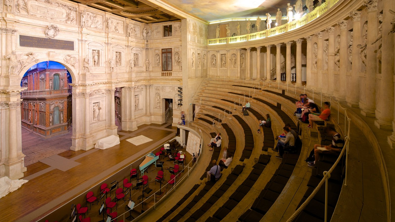 Vicenza which includes theater scenes and interior views