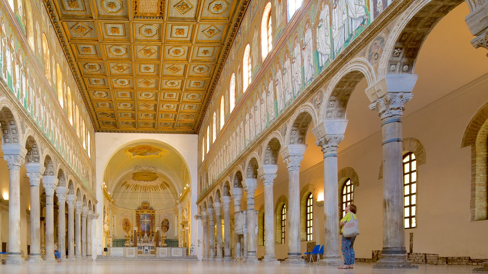 Basilica of Sant\' Apollinare Nuovo featuring heritage architecture, a church or cathedral and interior views