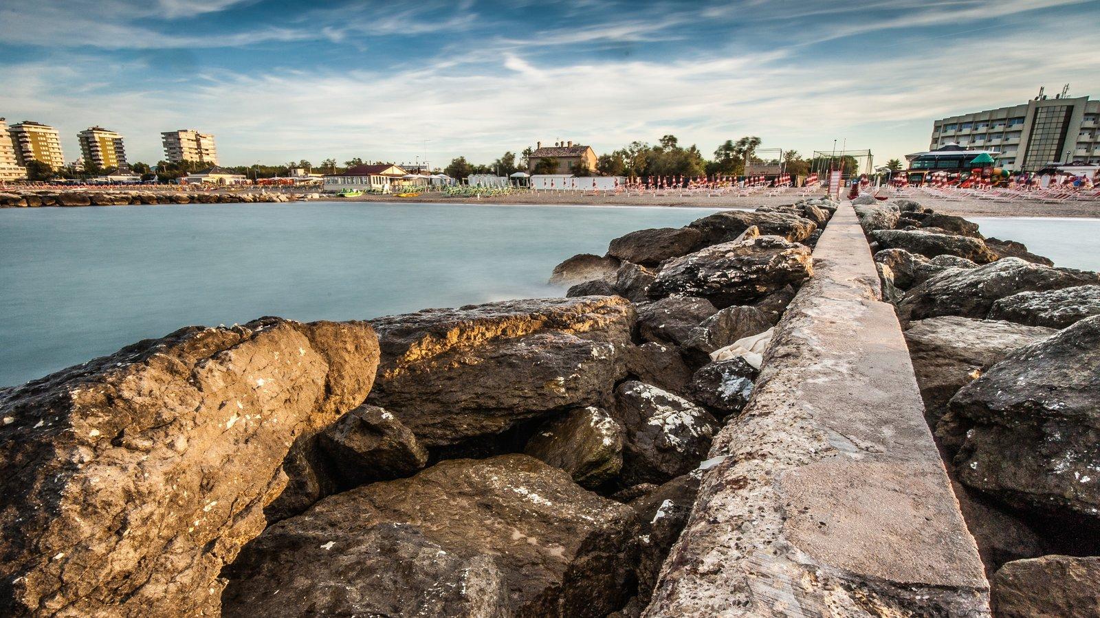 Riccione featuring rocky coastline