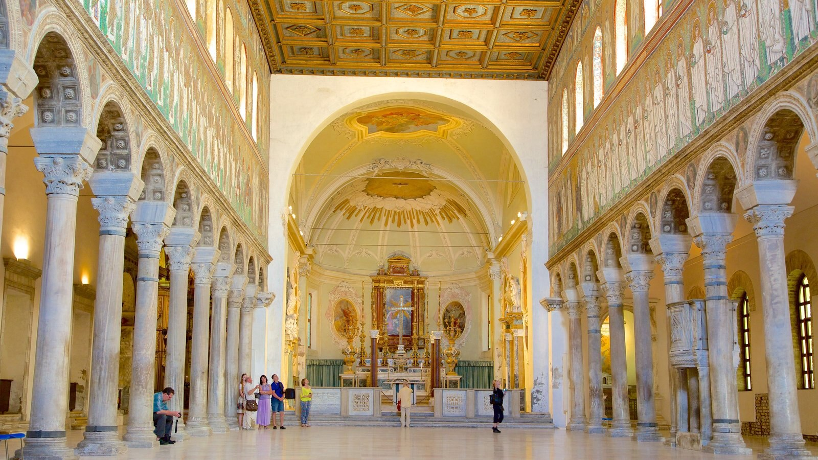 Basilica of Sant\' Apollinare Nuovo showing interior views, a church or cathedral and religious elements