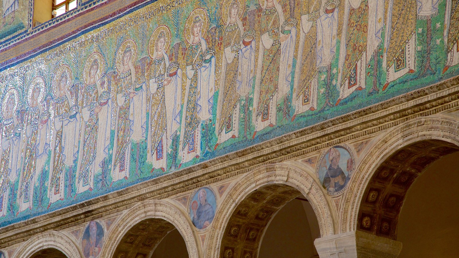 Basilica of Sant\' Apollinare Nuovo which includes religious aspects, a church or cathedral and interior views