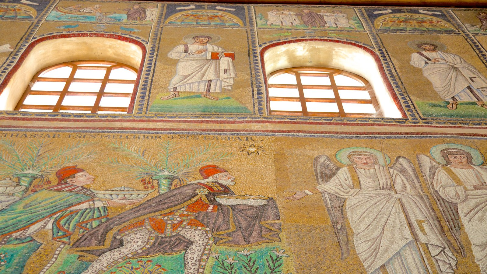 Basilica of Sant\' Apollinare Nuovo which includes religious elements, art and a church or cathedral