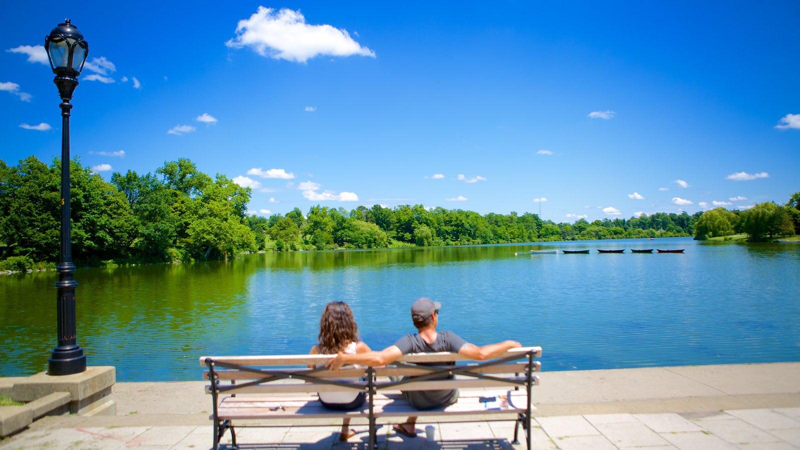 Delaware Park que inclui um rio ou córrego assim como um casal