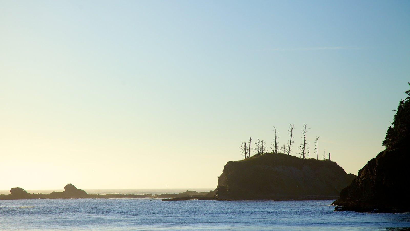 Parque estatal Cape Arago mostrando vistas generales de la costa, costa rocosa y una puesta de sol