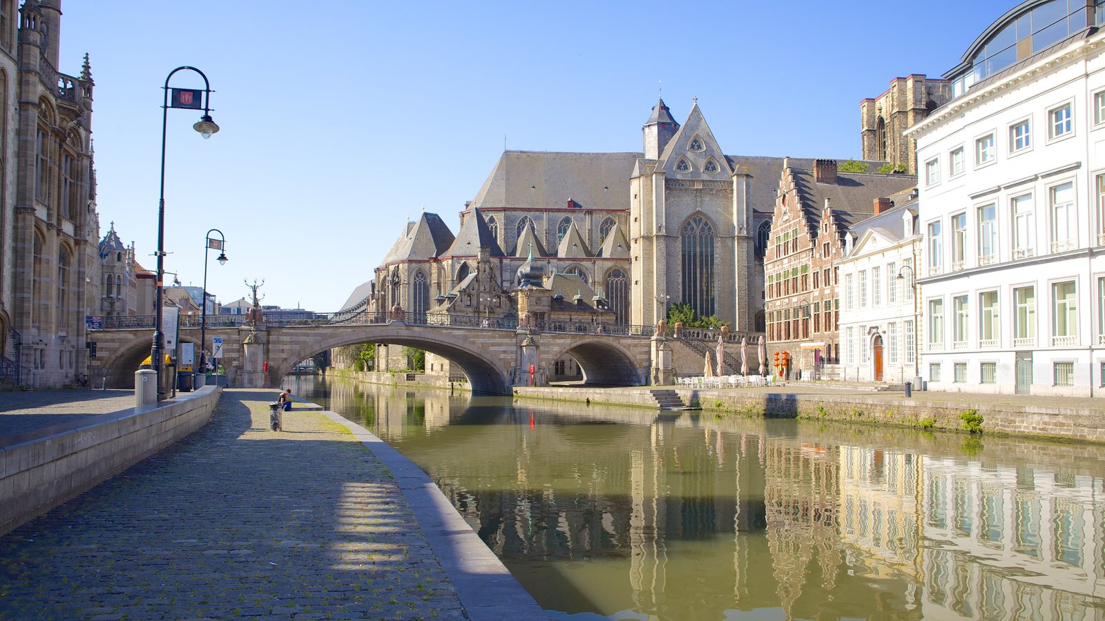 Ghent featuring heritage architecture, a bridge and a river or creek