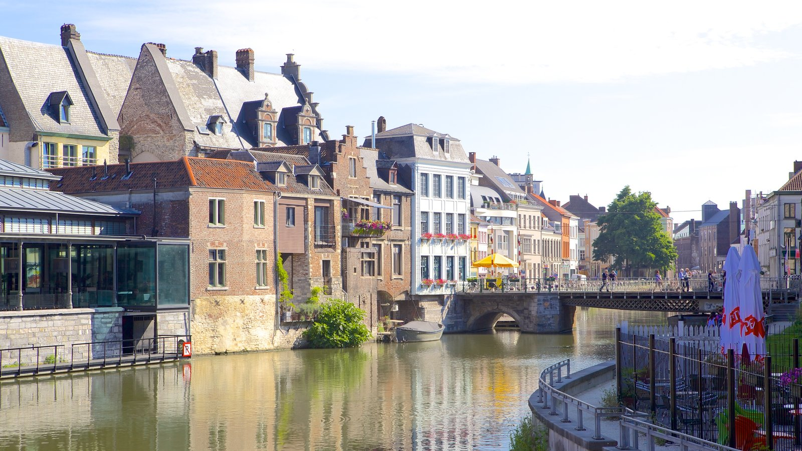 Ghent which includes a river or creek, a small town or village and a bridge