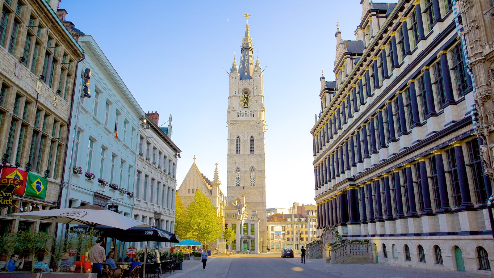 Belfry of Ghent showing a city, street scenes and heritage architecture