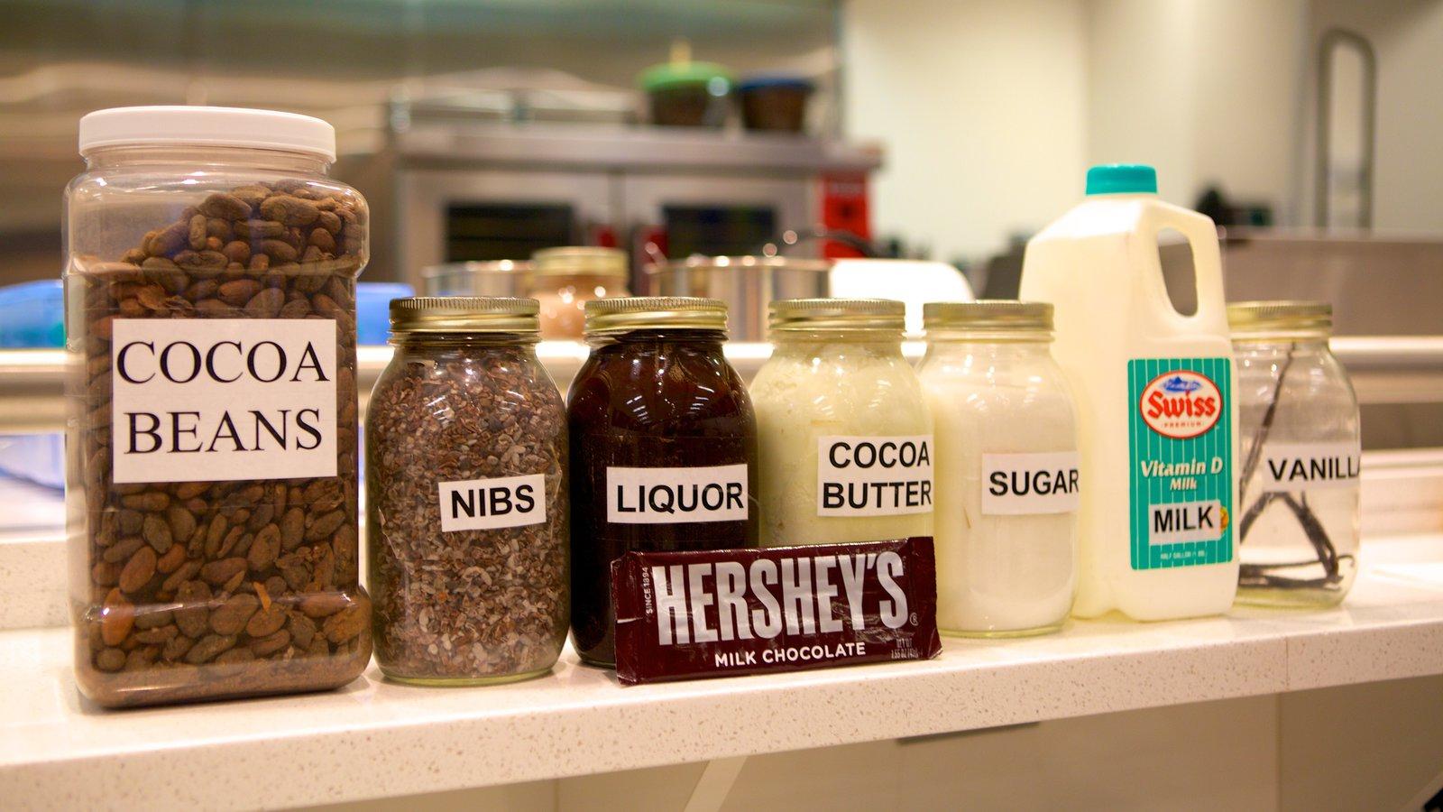 The Hershey Story Museum mostrando vistas internas e comida