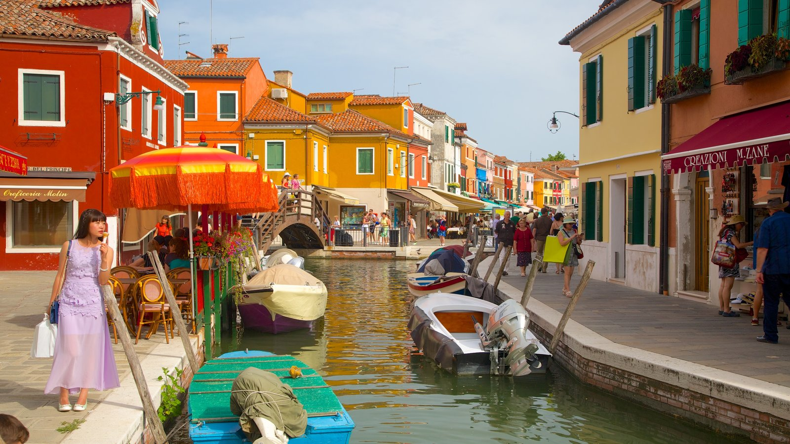 Burano showing a river or creek and heritage architecture