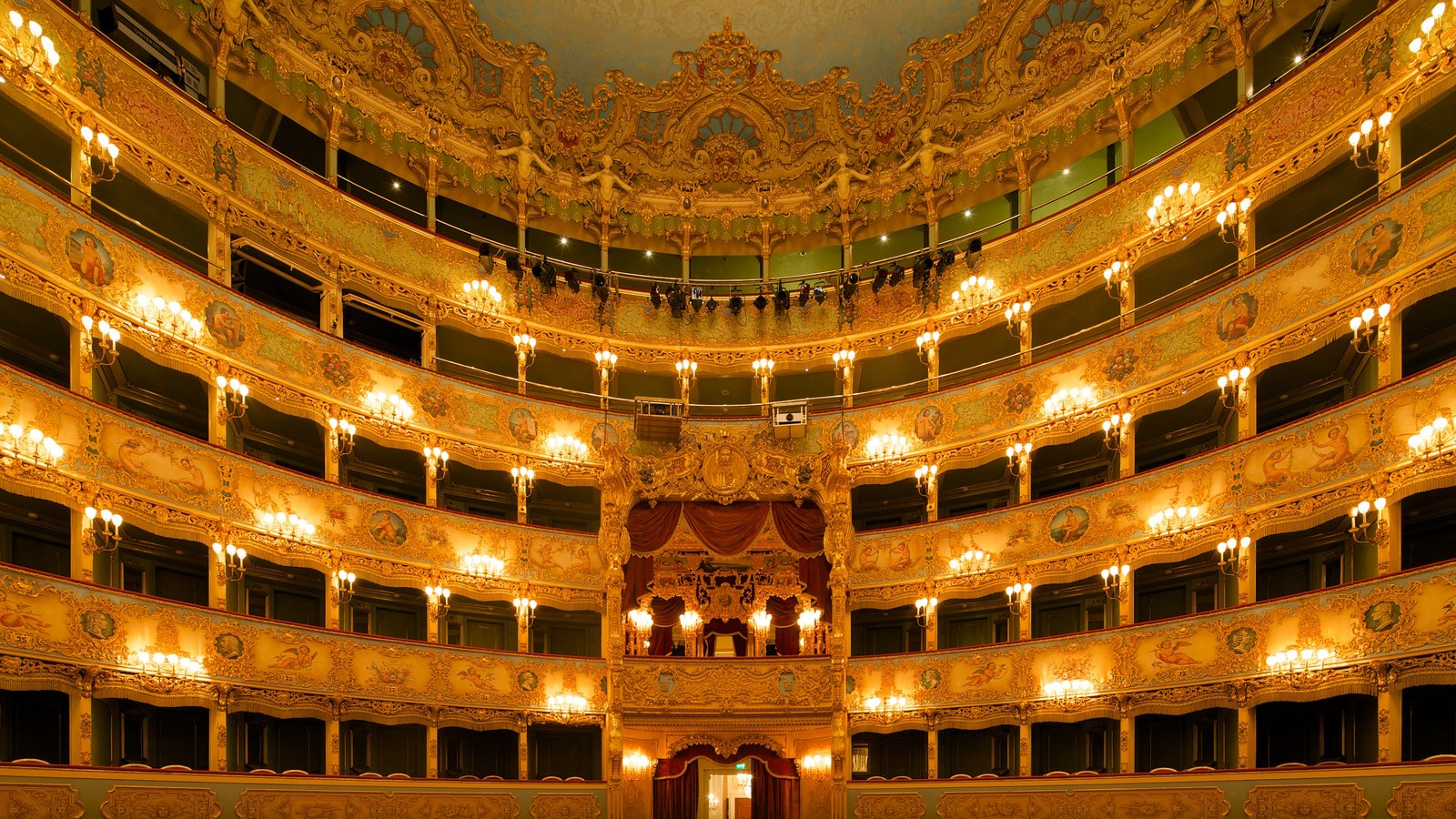 La Fenice Opera House featuring heritage architecture and interior views