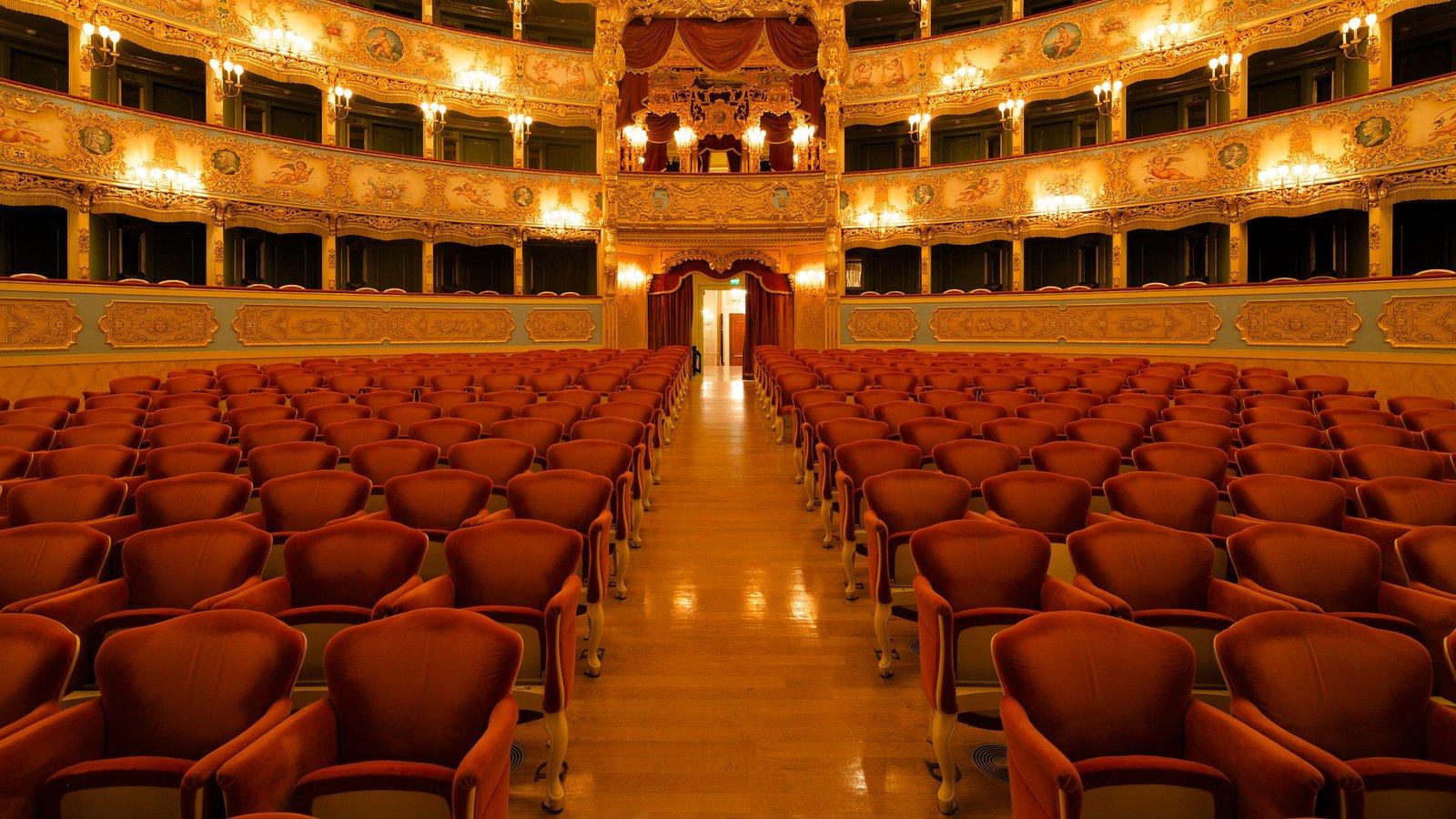 La Fenice Opera House which includes interior views, heritage architecture and theatre scenes