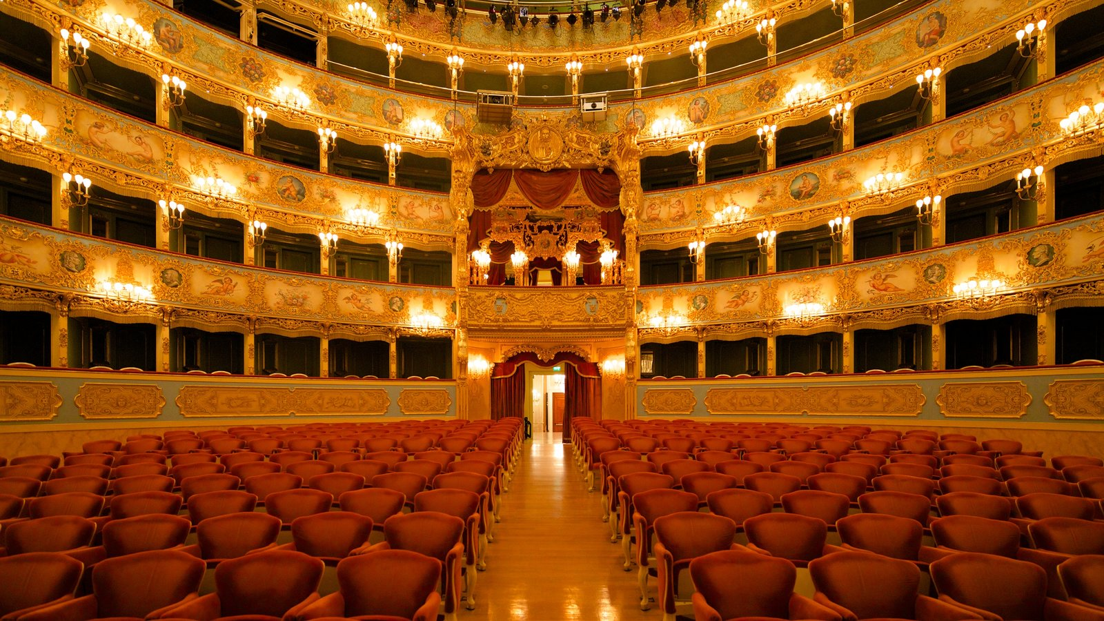 La Fenice Opera House showing theater scenes, heritage architecture and interior views