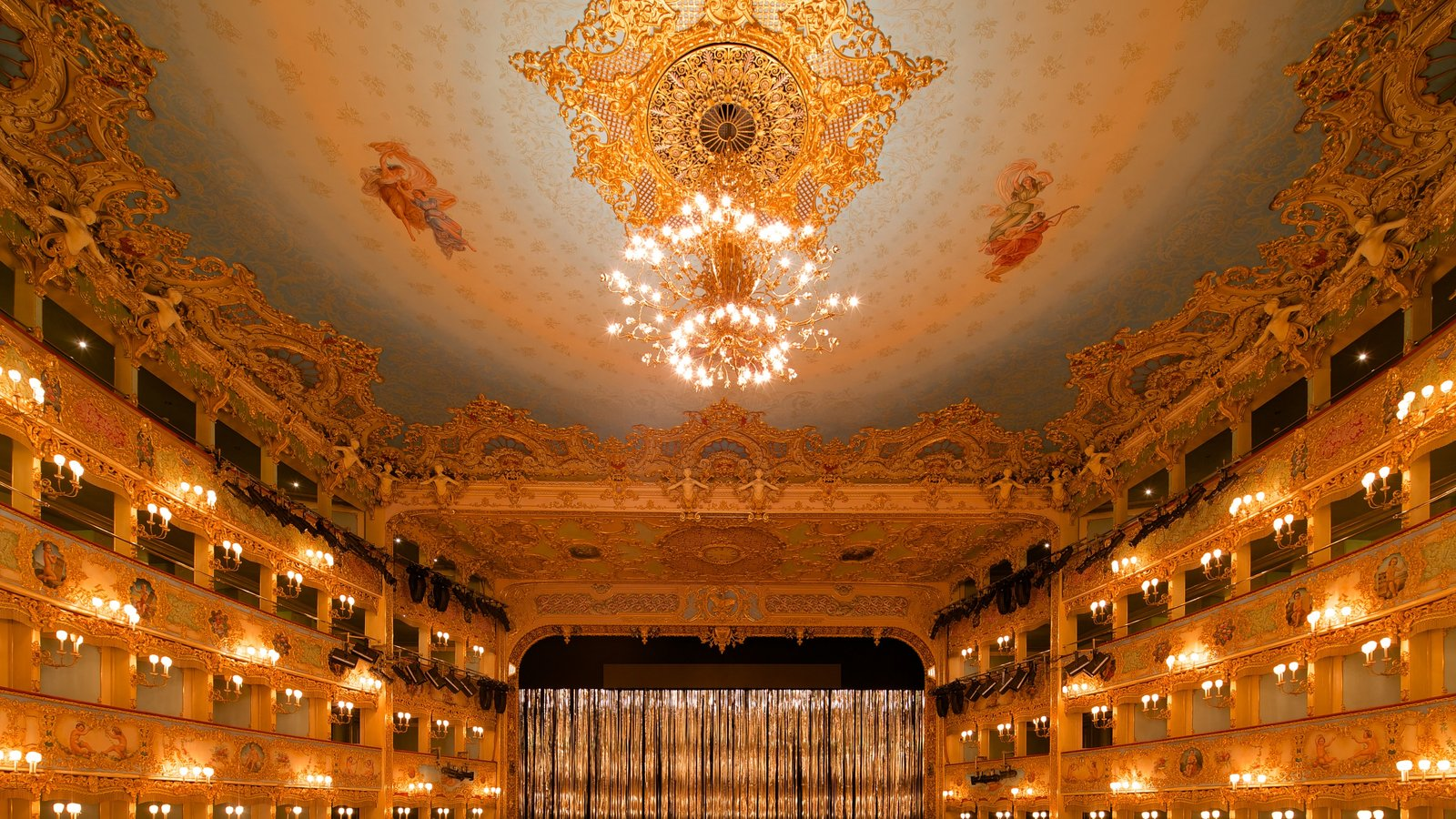 La Fenice Opera House showing heritage architecture, interior views and theater scenes