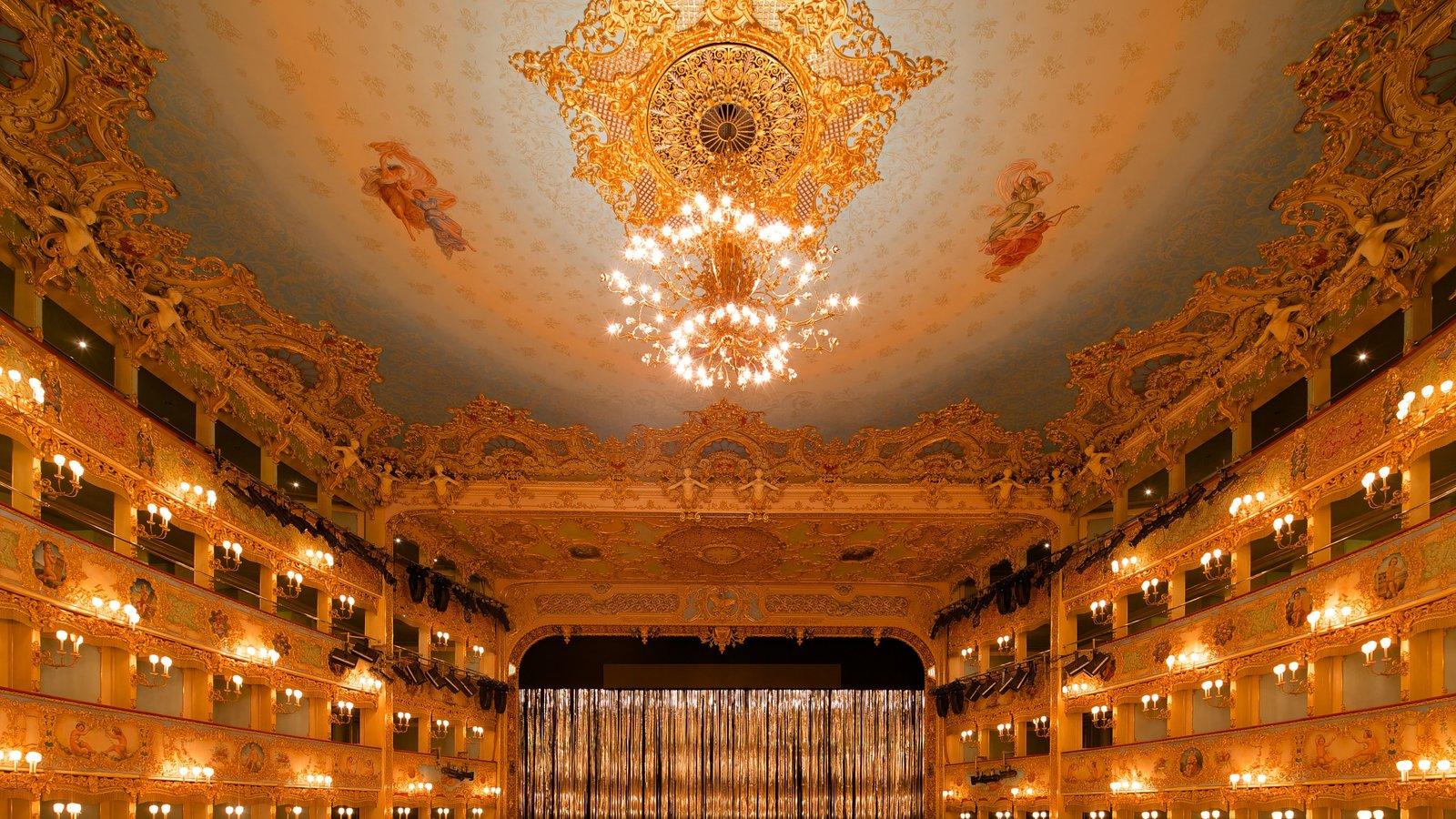 La Fenice Opera House showing theatre scenes, heritage architecture and interior views