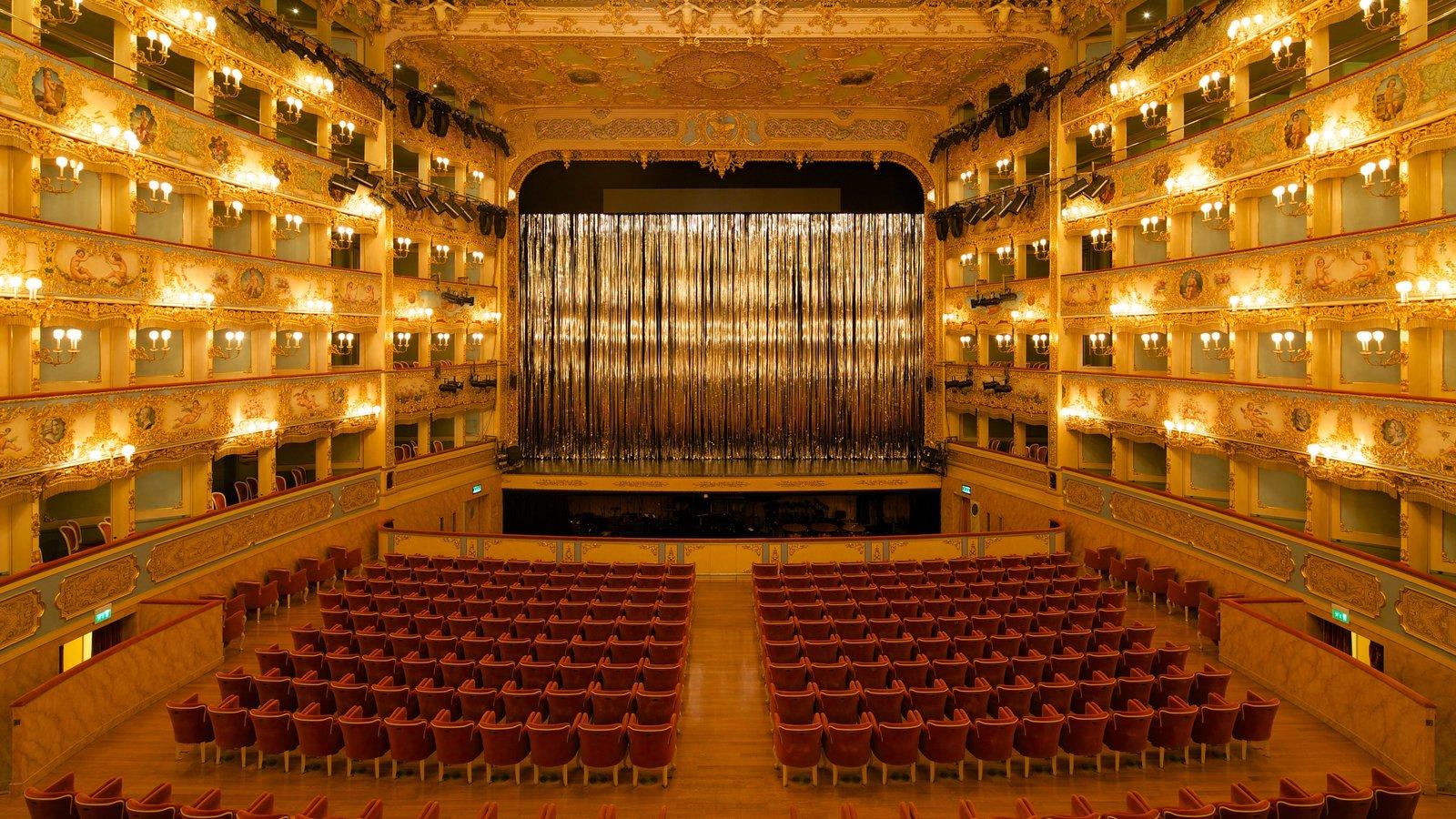 La Fenice Opera House showing interior views and theatre scenes