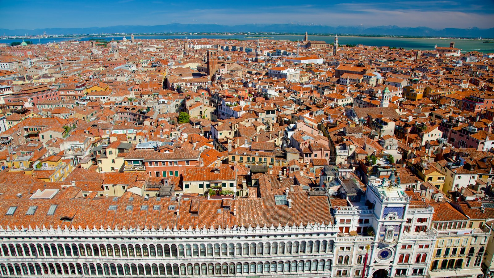 St Mark\'s Campanile featuring a coastal town and heritage architecture