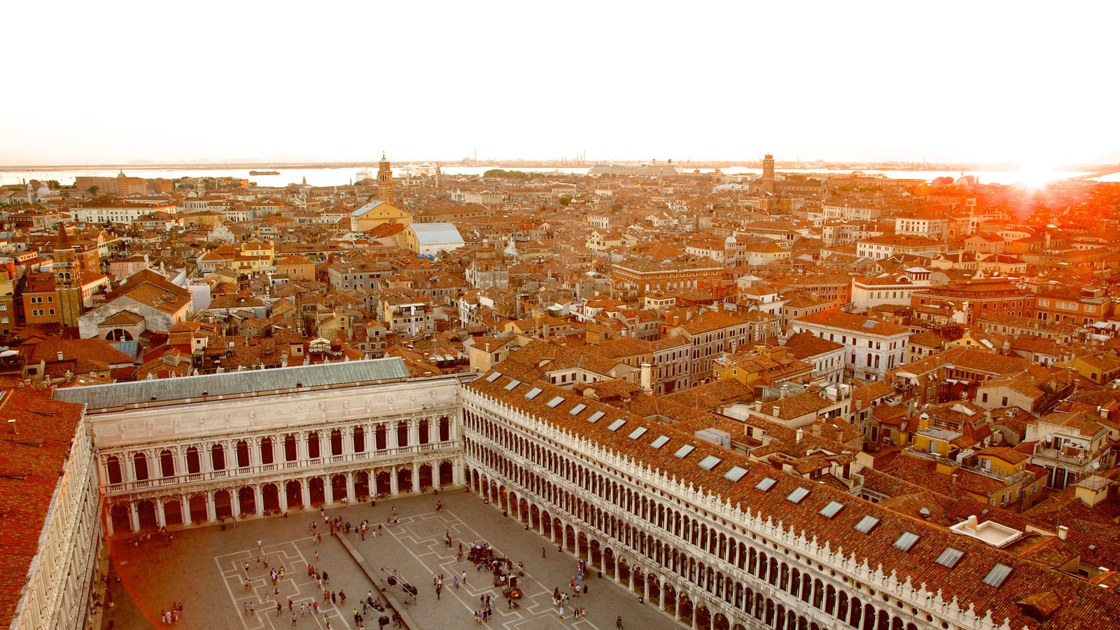 St Mark\'s Campanile which includes a square or plaza, heritage architecture and a coastal town
